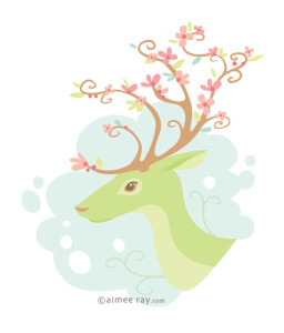 Spring Antlers- prints available at www.society6.com/aimeeray