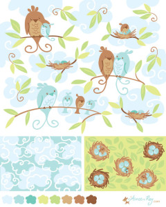 birdies and coordinating patterns-fabric available at www.spoonflower.com/profiles/littledear