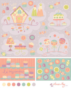candy land coordinating patterns-fabric available at www.spoonflower.com/profiles/littledear