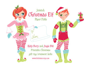 Christmas Elf Paper Dolls- PDF printable available at www.littledear.etsy.com