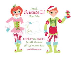 Christmas Elf Paper Dolls- PDF printable available at www.littledear.etsy.com