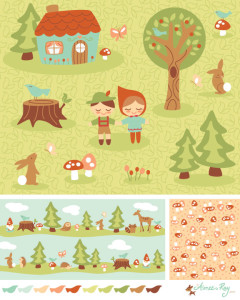 woodland fairy tale coordinating patterns-fabric available at www.spoonflower.com/profiles/littledear