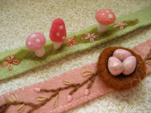 Headbands for Blythe with needle felting and embroidery