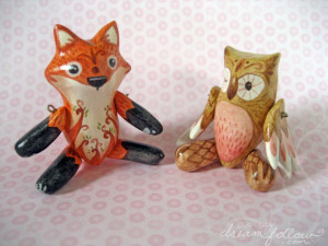 Jointed clay animal dolls