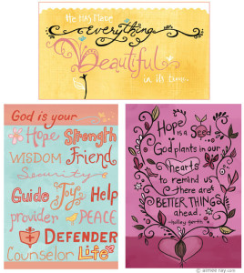 Hand lettered greeting cards for Dayspring Cards
