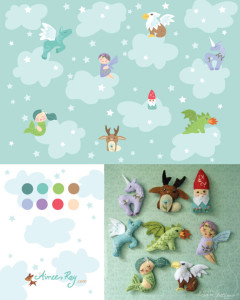 mythical creatures pattern and plush character toys-fabric available at www.spoonflower.com/profiles/littledear
