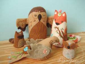 Plush embroidered animals