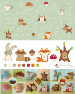 woodland creatures pattern and plush character toys-fabric available at www.spoonflower.com/profiles/littledear