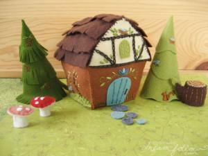 Woodland Cottage felt plush house