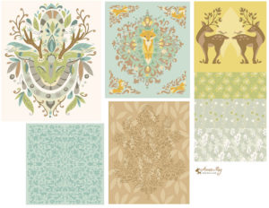 woodland creatures pattern coordinates- light