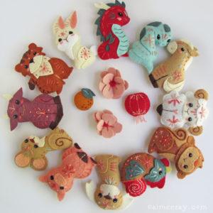 Mini felt Chinese Zodiac Animals