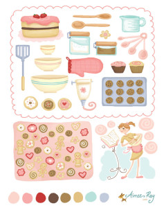 I love baking coordinating patterns-fabric available at www.spoonflower.com/profiles/littledear