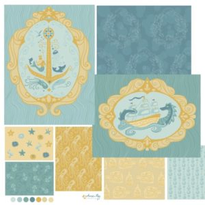 nautical pattern coordinates- blue