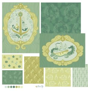 nautical pattern coordinates- green
